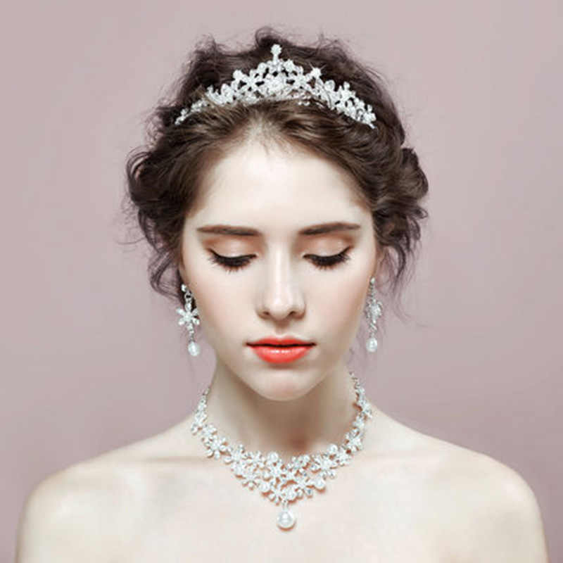White Pearl Earrings Necklace Set Wedding Bridal Jewelry Set for Women Crown and Tiara Pearl Necklace and Earring Sets Jewellery