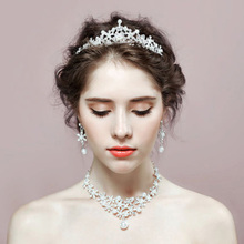 Pearl Earrings Necklace-Set Jewellery Wedding Crown Women for And Tiara White