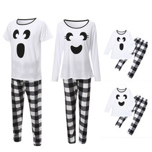 omen Tops Blouse Pants Family Pajamas Cotton blend Sleepwear Halloween Plaid Outfits Set