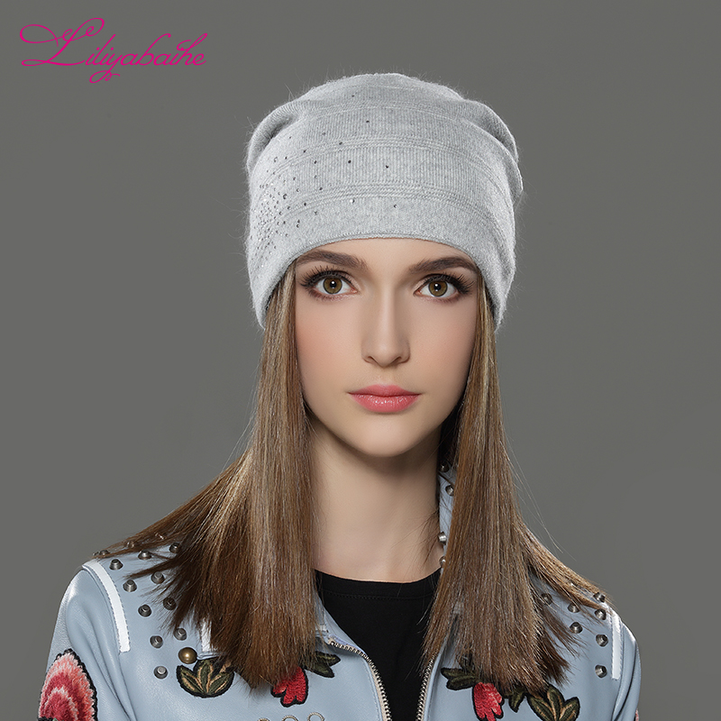 LILIYABAIHE Women Autumn And Winter Hat angora Knitted Skullies Be Cap  solid colors fashion  the most popular decoration cap fashion winter hat solid color woolen flat top cap unisex autumn and winter cap w005
