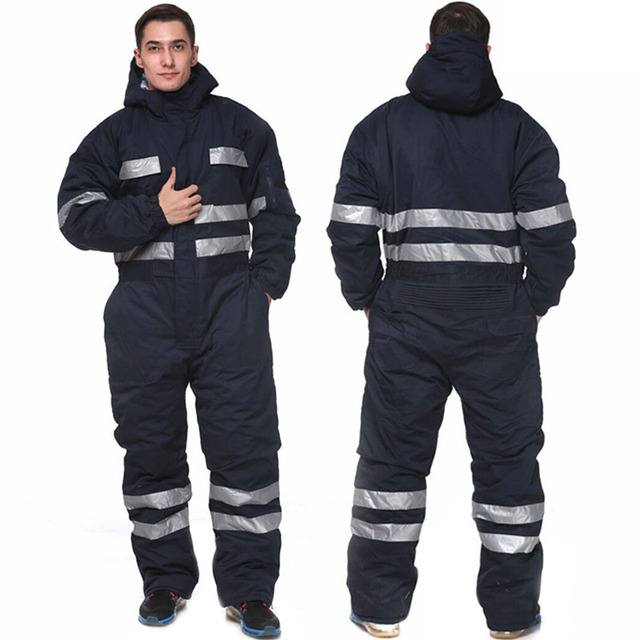 a79202dc8587 Men Overalls Thicken Warm Winter Clothes Work Clothing Long Sleeved Hooded  Coveralls Reflective Wear-resistant