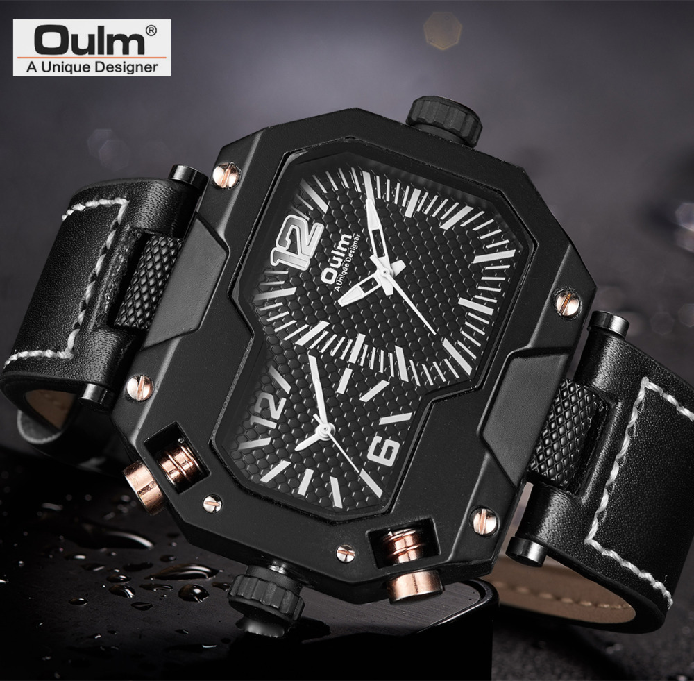 все цены на Oulm New Unique Design Sports Watches Men Luxury Two Time Zone Casual Genuine Leather Wristwatch Quartz Masculino Relogio Clock