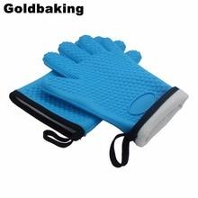 1 Para Silikon BBQ Handschuhe Hitzebeständige Ofenhandschuh Rutschfeste Topflappen Interne Schutz Baumwolle Schicht