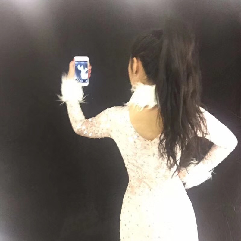 Di Bianco Donne Celebrare Vestito Cristalli Ds Cantanti Tuta Queen Compleanno Scena Scintillanti Delle Dj Bling Nightclub Costume CredxBo