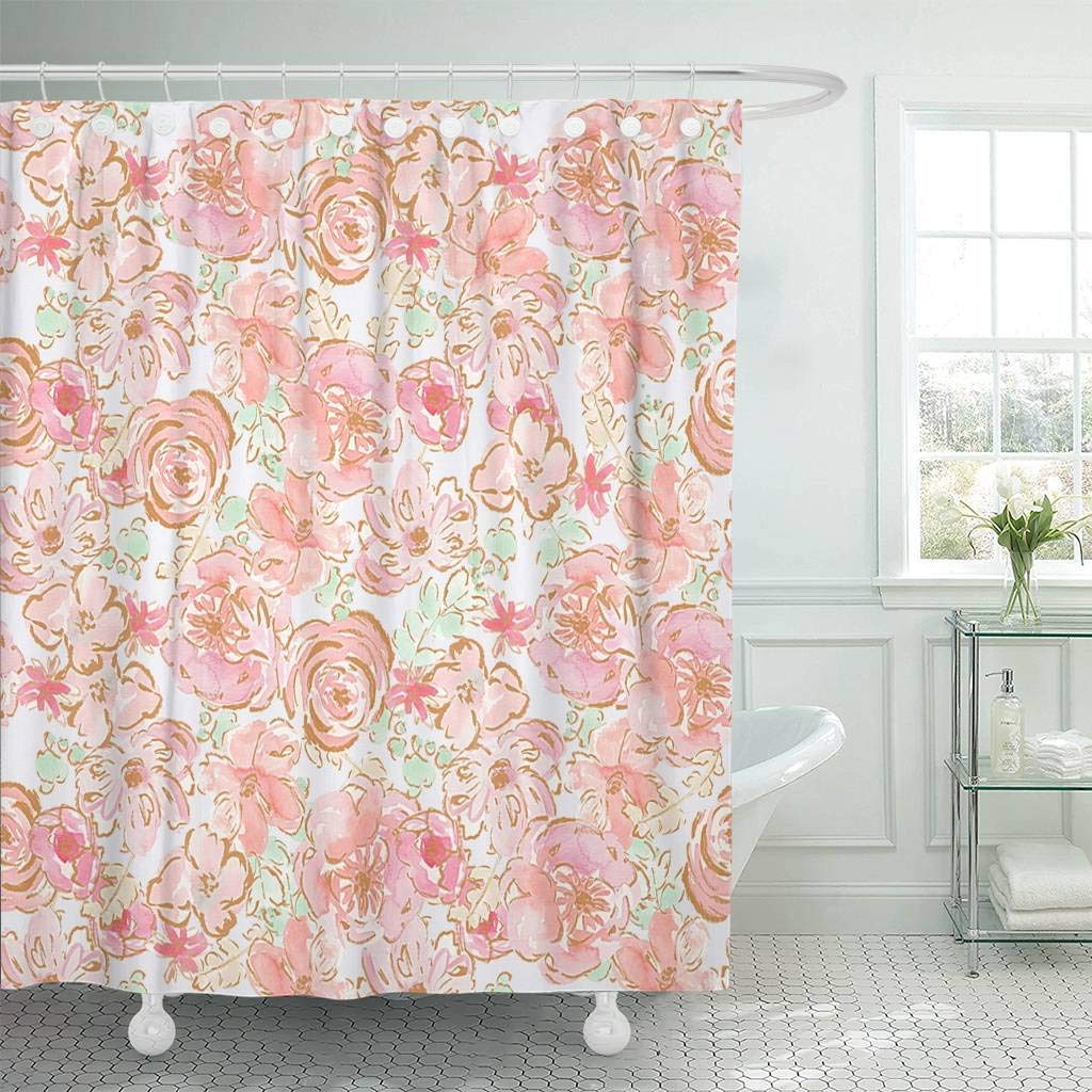 Us 16 23 35 Off Fabric Shower Curtain With Hooks Colorful Pretty Shabby Chic Pastel Flower Pattern With Gold Accents Orange Cute Floral In Shower