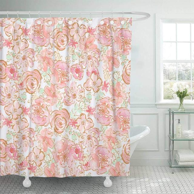 Fabric Shower Curtain With Hooks Colorful Pretty Shabby Chic Pastel