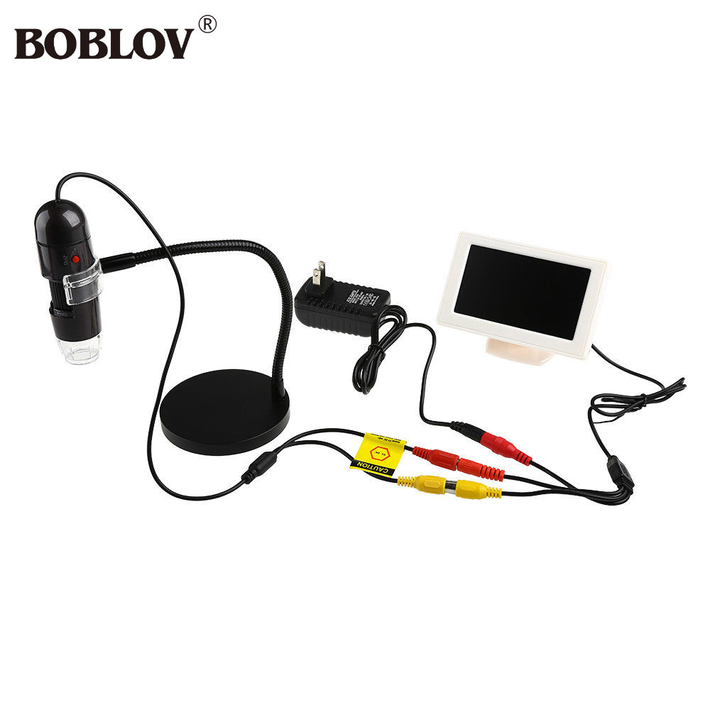 "BOBLOV T03A 4.3"" Display Handheld HD 720P 25-600X TV Digital Microscope 5VDC For Printing Inspection/Microbiological Observation"