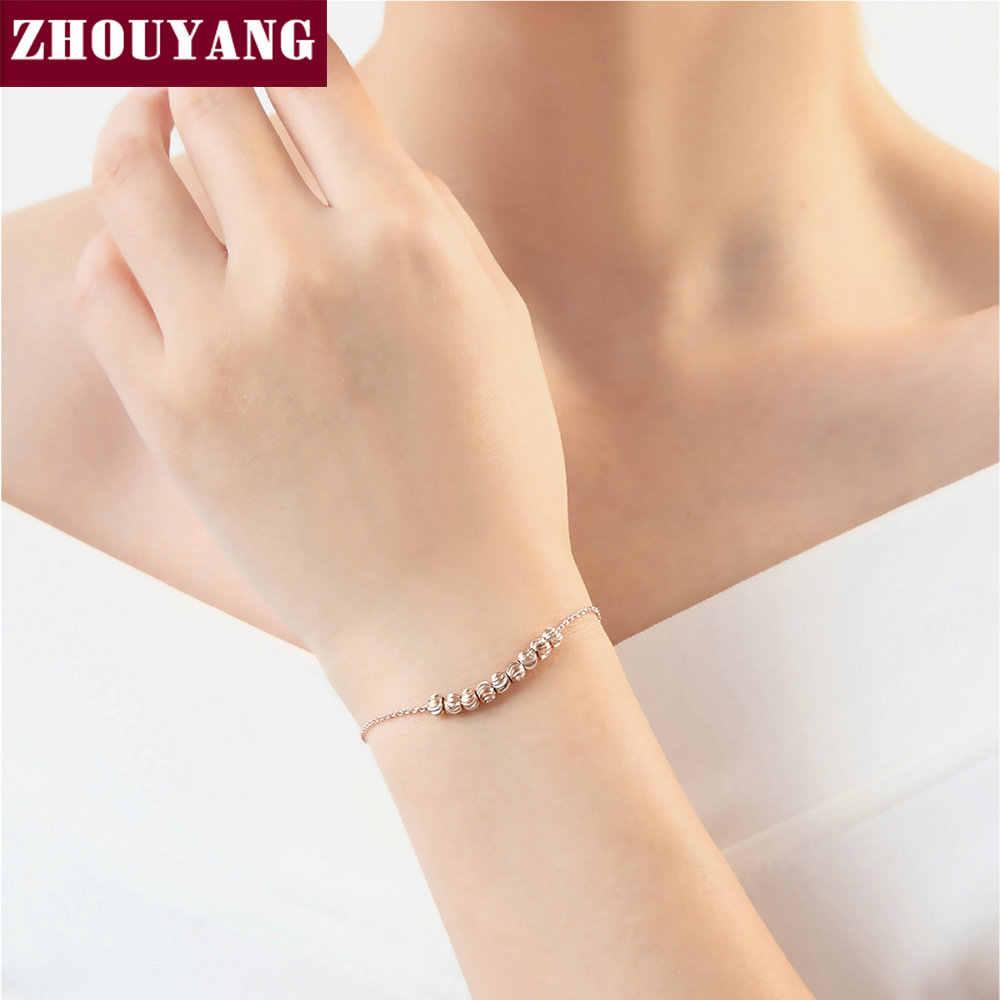 Najwyższej jakości tętnienia małe koraliki różowe złoto kolor bransoletka biżuteria ZYH215 ZYH216