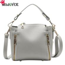 MOJOYCE Vintage Solid Color Women PU Leather Bucket Big Handbag Girls Female Elegant Zipper Crossbody Messenger Tote Bag