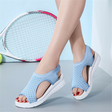 JIANBUDAN/Mesh breathable womens sandals platform comfortable outdoor walking shoes Wedge fashion Summer beach 35-42 size