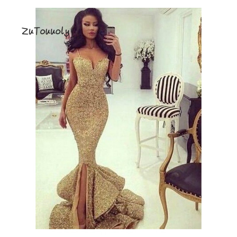 Glitter Gold Mermaid   Prom     Dress   With Slits Ruffles Elegant Spaghetti Straps Fishtail Long Party   Dresses   For Gratuating Date 2019