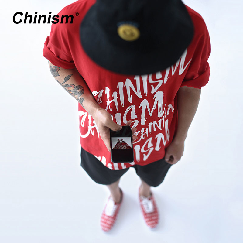 Chinismo Original marca letras imprimir camiseta Oversize Mens algodón sueltos camisetas Skateboard Fashion camiseta Casual Hip Hop