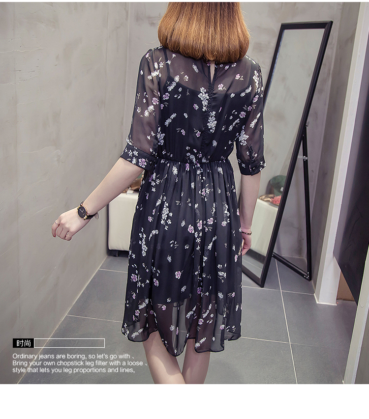 CHUNLI Large size XL 2XL 3XL 4XL 5XL 2019  Women summer dress slimming floral dress + condole belt two pieces. 1