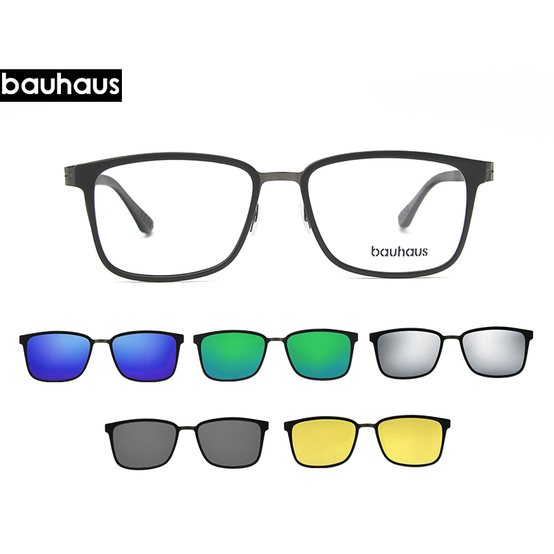 Bauhaus  3in1 Frame With Memory Core Inside Polarized Magnet Clip Glasses Clip On Glasses Myopia Glasses  Night Vision Glasses