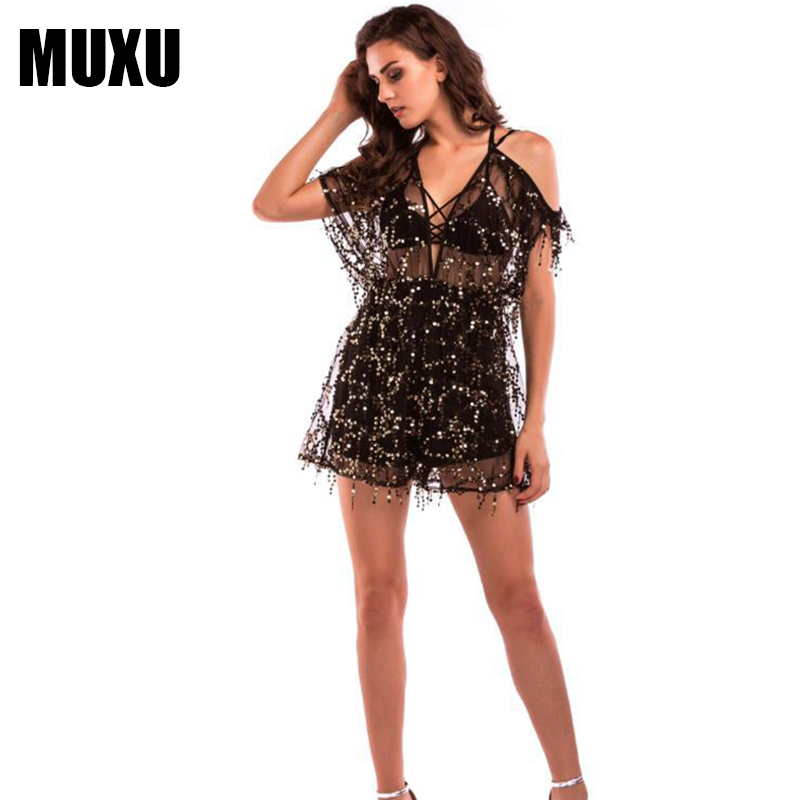 MUXU NEW sexy black sequin summer v neck jumpsuit short women europe and the united states jumpsuits rompers body suits shorts