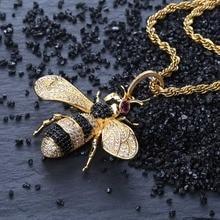 TOPGRILLZ זהב כסף צבע אייס מתוך מעוקב זירקון בעלי החיים דבורה תליון שרשרת גברים של נשים היפ הופ תכשיטי מתנות
