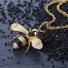 Topgrillz Goud Zilver Kleur Iced Out Cubic Zirkoon Animal Bee Hanger Ketting Mannen Vrouwen Hip Hop Sieraden Geschenken
