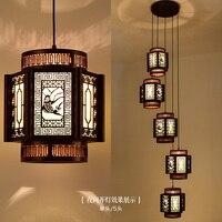 Chinese classical wooden staircase spiral composite lamp chandelier villa restaurant long sheepskin lamp ya702