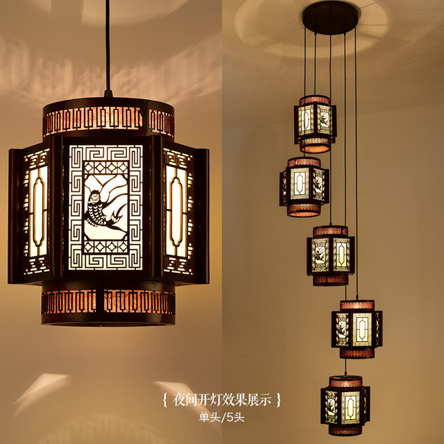 Chinese Classical Wooden Staircase Spiral Composite Lamp Chandelier Villa Restaurant Long Sheepskin Ya702