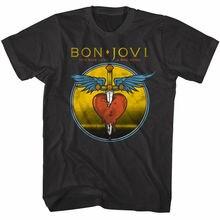 OFFICIAL Bon Jovi You Give Love A Bad Name Mens T Shirt Dagger Heart Rock Band Tops Cool O Neck T-Shirt top tee