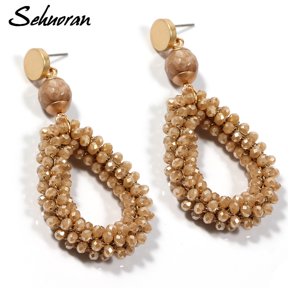 Sehuoran Bohemian Earrings For Women Crystal And Stone Beads By Handmade Zinc Alloy Big Long Earrings Vintage 2017 New Jewelry bohemian beads necklace and earrings