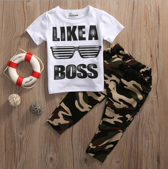 2pcs Kids Baby Boy Camouflage Outfits Clothes Sets LIKE A BOSS Print Short Sleeve T-shirt Tops+Camouflage Pants Outfits Cotton kids baby boy long sleeve gentleman t shirt tops long pants 2pcs outfits clothing set hot
