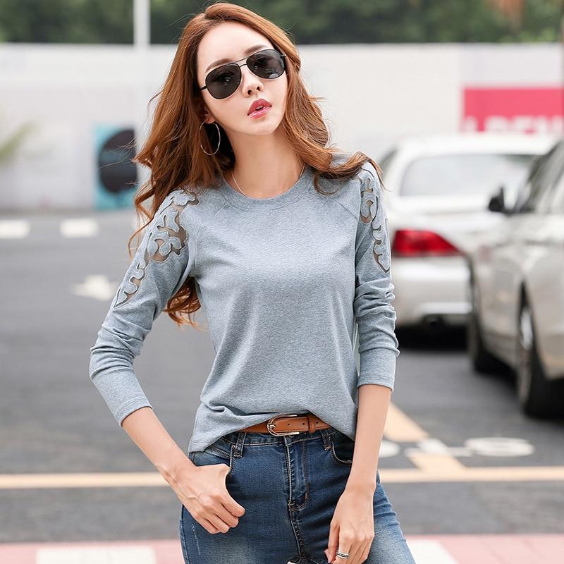 Shoulder Embroidery T Shirt Women Autumn Cotton Black White Hollow Out Tee Shirt Femme Long Sleeve T-shirt Lady Tops 2019