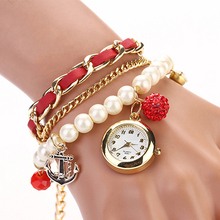New! Sizzling Gross sales New Fake Leather-based Pearl Rhinestone Anchor Bracelet Watches Analog Quartz Ladies's Watch