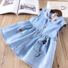 Hurave New baby girls clothes Turn-down collar denim sleevel