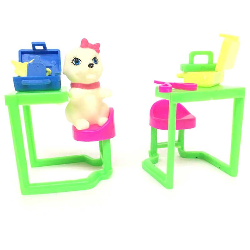 Fantoche Brinquedo Para Brincar de Casinha de Boneca Educação infantil Conjuntos de Gato Gato de Estimação Equipamentos Médicos Fora Acessórios de Casa De Bonecas De Plástico