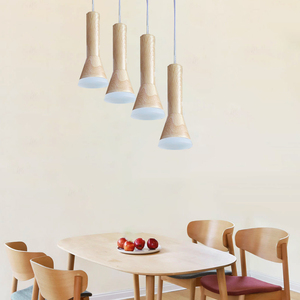Image 4 - led Wood grain Pendant Lamp dimmable Lights Kitchen Island Dining Room Shop Bar Counter Decoration Cylinder Pipe Hanging Lamps