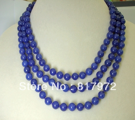 Glamour Simple style 8mm blue Bead Necklace Woman Party Gift Length 120cm