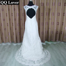 QQ Lover 2017 New Cap Sleeve Mermaid Lace Wedding Dress Appliques Custom-made Vestido De Noiva Bridal Gowns