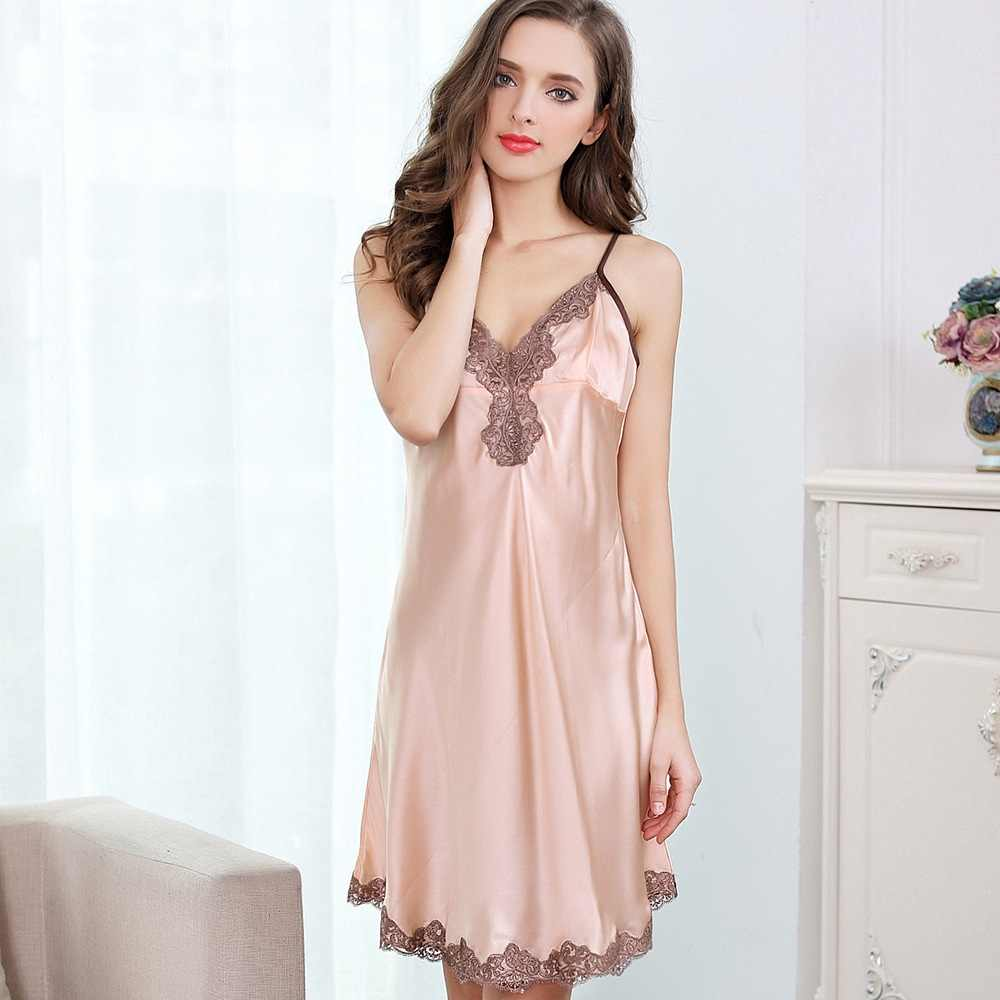 06c7f48b70 Solid 100% Silk Satin Women Nightgown Beige pink   Wine red 2 Solid Colors  Elegant