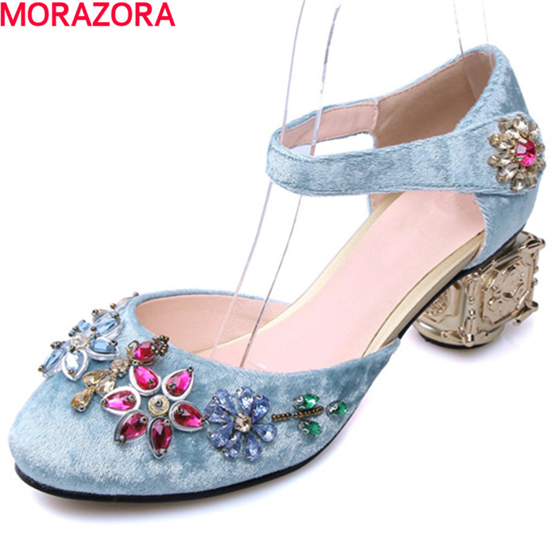 цены MORAZORA new arrival Women pumps shoes single fashion party unique high heels shoes big size 34-43 beading rhinestone shoes