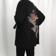 2018 autumn linen kimono jackets men ethnic cotton linen jackets cherry dragon embroidery chiffon sun protection women clothing