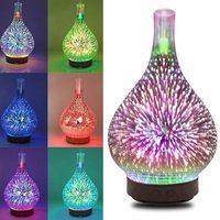 LED Aromatherapy Humidifier Night Light 3D Glass Firework 7 Colors Oil Diffuser Two Humidification Modes UK/US/AU/EU Plug