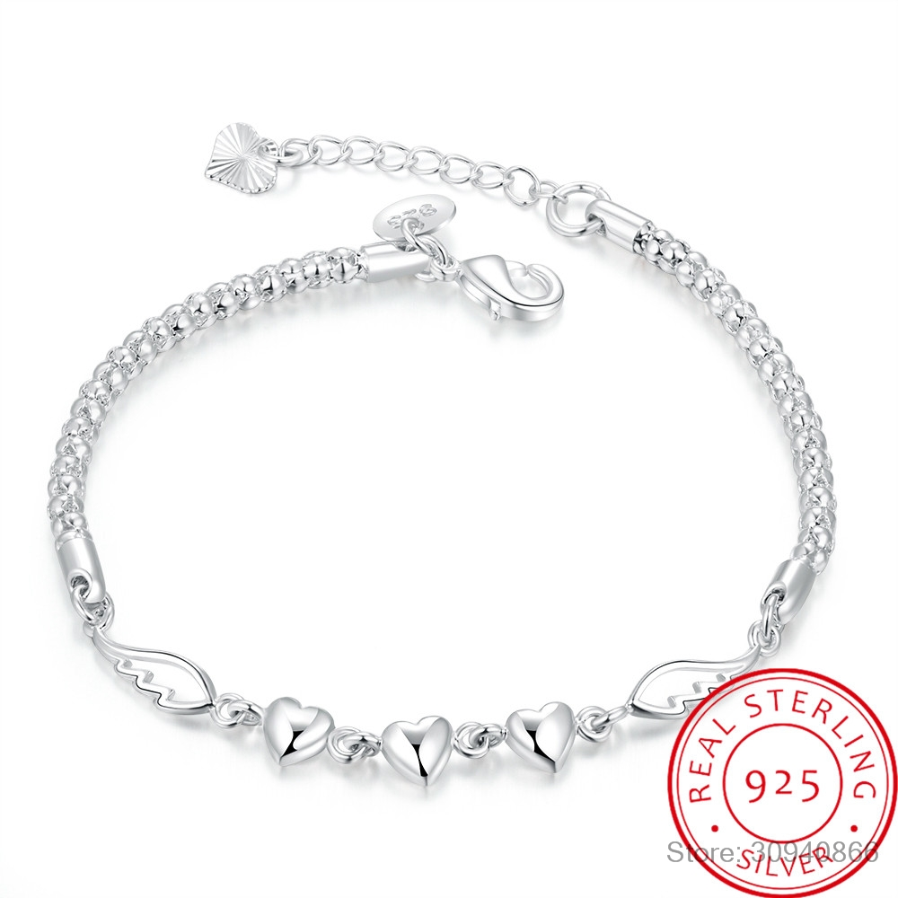 925 Sterling Silver Double Angel Wings Heart Charm Bracelets For Women Fashion Crystal Sterling-silver-jewelry Pulseira Feminina