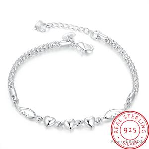 Charm-Bracelets Sterling-Silver-Jewelry Crystal Heart Men for Women Fashion Pulseira-Feminina