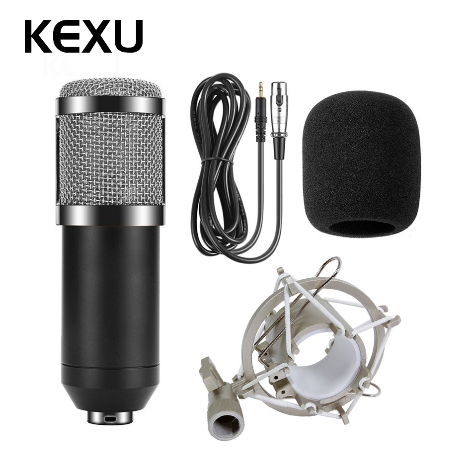 BM800 Professional Microphone Condenser Microphone for Video Recording Radio Studio Microphone for Computer with Shock Mount 100% new professional bm 800 bm800 condenser sound recording microphone with shock mount for radio braodcasting singing black