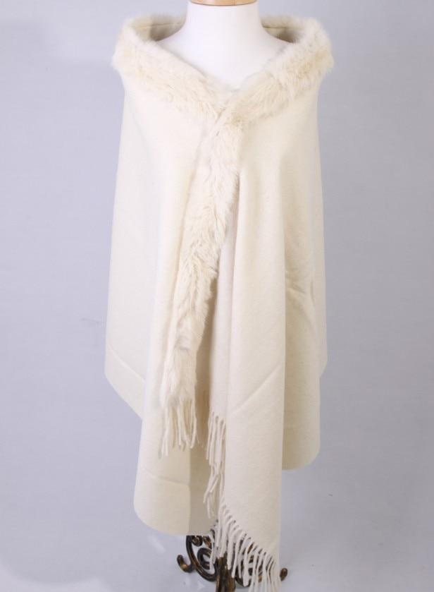 High Quality Cream Women 100 Wool Pashmina Winter Thick