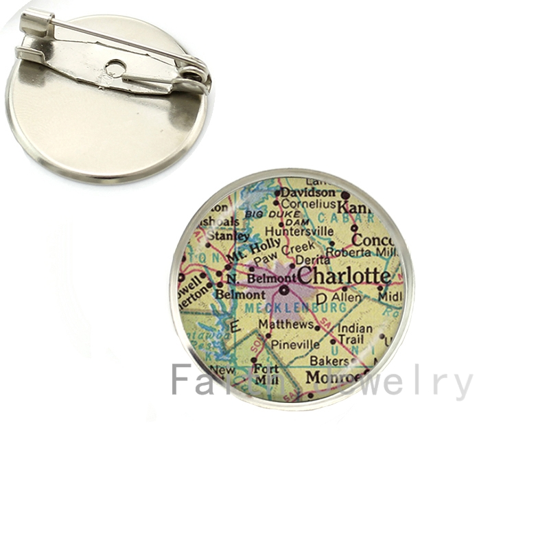 Wholesale 8 images brooch pins Vintage Map brooches fashion glass cabochon dome silver plated handmade traveler gift NS151