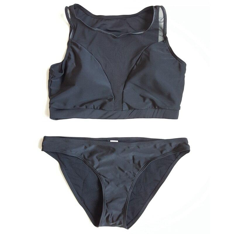 851bafd476d82 Black Mesh Bikini Women Swimsuit Sports 2 Pieces Bathing Suits Beach May  High Neck Tank Swimwear Maillot De Bain Femme-in Bikinis Set from Sports ...