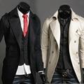 Бесплатная доставка 2016 Новый прибытие весна/осень мужской моды случайные длинные траншеи пальто мужской Двубортный пиджак бесплатная доставка