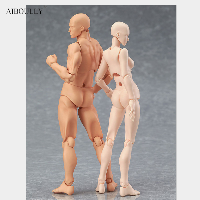 Anime Archetype He She Ferrite Figma Movable BODY KUN BODY CHAN PVC Feminino Action Figure Model Toys Doll for Collectible anime cardcaptor sakura figma kinomoto sakura pvc action figure collectible model toy doll 27cm no box