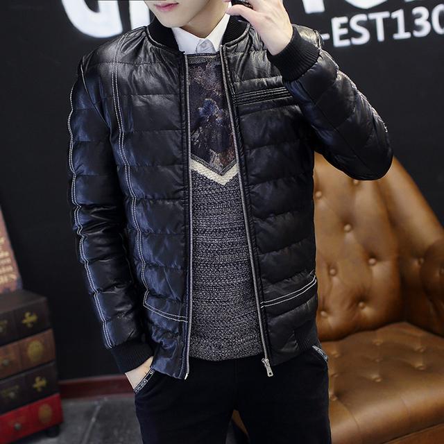 2016 Mens Jaqueta de Inverno Parka de couro do PLUTÔNIO Para Baixo algodão quente jaquetas de moda masculina casacos grossos marca roupas plus size 3XL Y139E