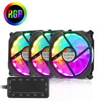 120mm 3Pack RGB LED Color Adjustable Light Speed Controllable Computer Case Fan PC Cooler Radiator Fan