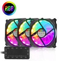 LTC 3 Pack Computer Case 120mm RGB LED Adjustable Light Color Fans Cooler PC Case CPU Cooling Radiator with IR Remote Controller