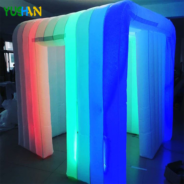 2.2m or 2.5m  Amazing inflatable photo booth Party backdrops with LED strips lights Air blower Inflatable Tent enclosure shell