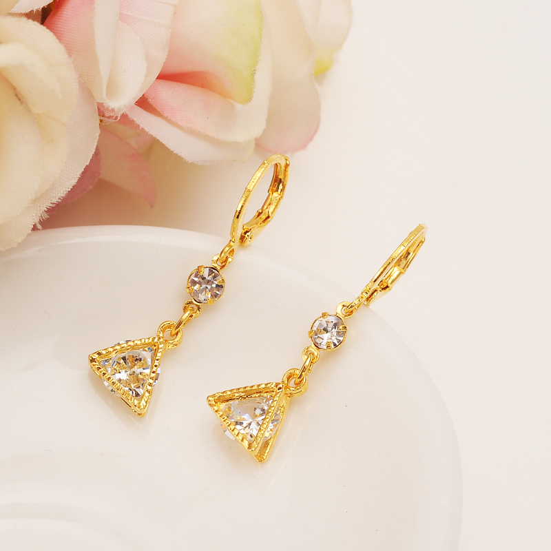 Bangrui Brand Royal W zircon earrings for girls small earrings women wholesale gold pated jewelry wedding party gifts